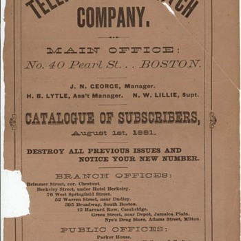 1881 Boston Telephone Directory with AGB listing - Telephones