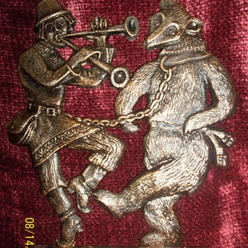 Dancing Bear and Piper metal heavy plaque