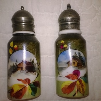 Exceptional Decorated Opalware Shakers - Art Glass