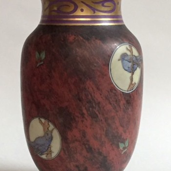 Antique Marbleized Glass Vase w/Bird Vignettes, Marked?, Beautiful - Art Nouveau