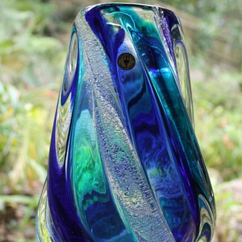 Blue Vase by Iwata Toshi Japan - Art Glass