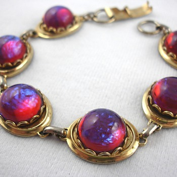 Dragon&#039;s Breath Glass Cabochon Bracelet - Costume Jewelry