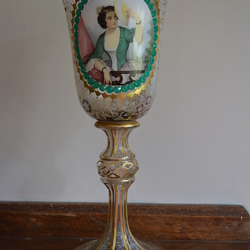 Glass goblet with a womans' portrait