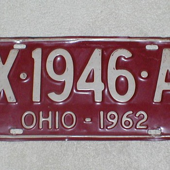 1962 Ohio License Plate - Signs