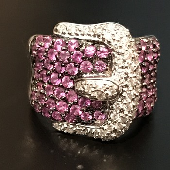 diamond and pink sapphire encrusted vintage belt buckle ring 18kt white gold - Fine Jewelry