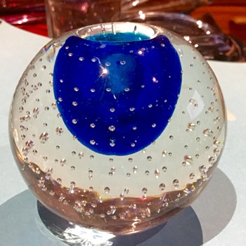 Whitefriars bubble candle holder - Art Glass