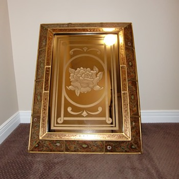 Beautiful Engraved Mirror in Chinese Frame  - Furniture