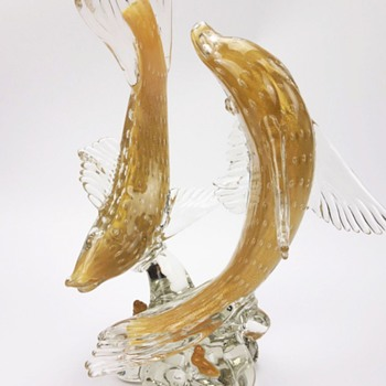ALFREDO BARBINI MURANO BULLICANTE DOUBLE FISH FIGURINE - Art Glass