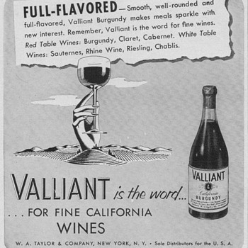 1950 Valliant Wine Advertisements - Advertising