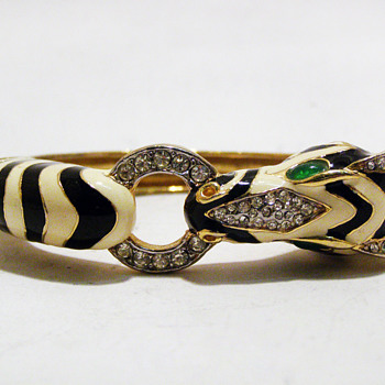 Vintage Ciner Enamel Zebra Bangle - Costume Jewelry