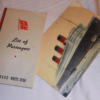 QUEEN MARY PASSENGER LIST & POST CARD - Paper
