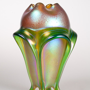 Loetz Gold with Green Decoration Vase