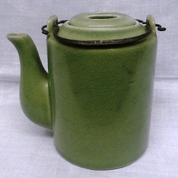 "Green Pottery 5"" teapot w Wire Bail and 2 Holed Lid????Origin?"