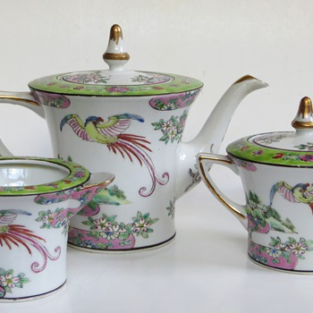 Japanese Porcelain Tea Service~Pot, Sugar, and Creamer~(have the Cups & Saucers, too!), Any info welcome - Asian