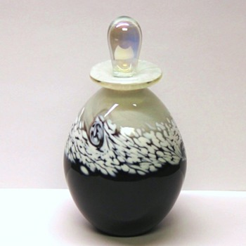 Studio Art Glass Bottle - Black & White - Signed R Mynatt 2011