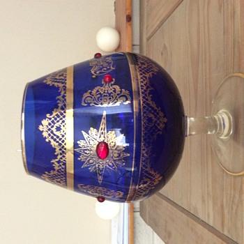 Large blue decorative brandy glass
