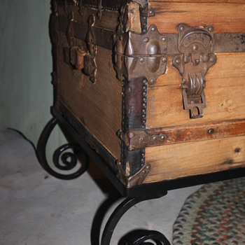 Low Profile Trunk - new life with custom made wrought iron base - Furniture