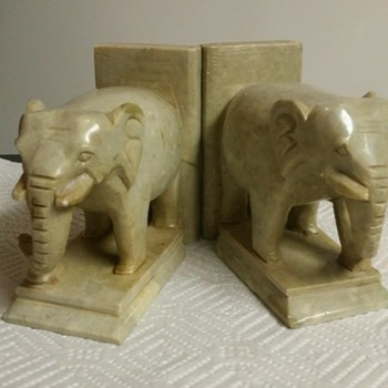 Soapstone Carved elephant bookends, light green and dirt in color.  - Animals