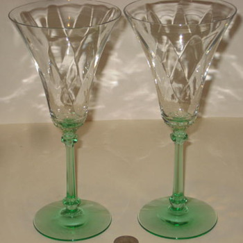 Green Wine Glasses Antique - Glassware
