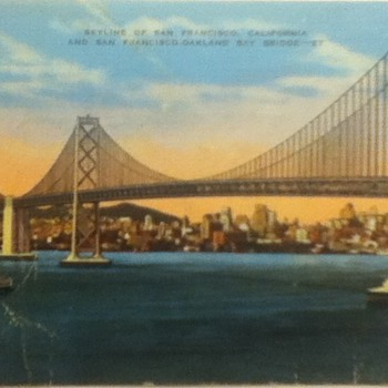 Postcard of San Francisco Skyline and Bay Bridge