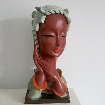 RARE ART DECO GOLDSCHEIDER BUST , CIRCA 1937
