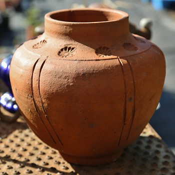 Arts and Crafts Terracotta Vase with Imprints