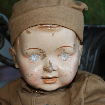 My Antique electric eye compo military doll - Dolls