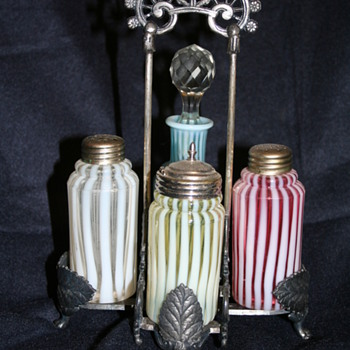 Victorian Art Glass condiment sets