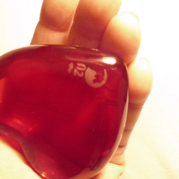 this red glass heart w/3 hallmarks and XXX rated male-HELP me w/info. please? - Art Glass
