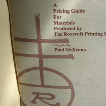 A Pricing Guide For materials produced by The Roycroft Printing Shop...