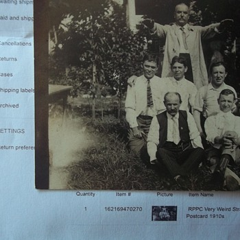 PURCHASED FROM EBAY THIS WEEK,& JUST CAME --REAL PHOTO POSTCARD, CULT LEADER & GHOST?