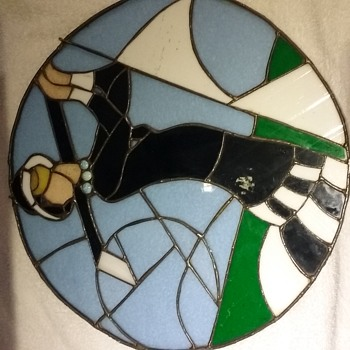 Antique art deco stained glass lady golfer