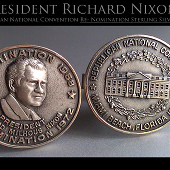 President Richard Nixon sterling silver cuff links for 1972 Re-Nomination