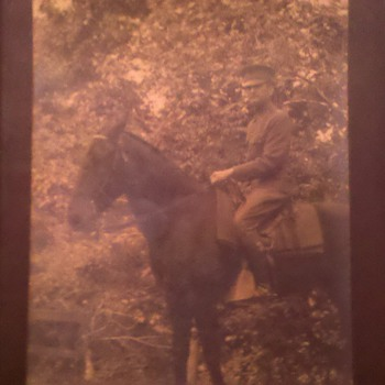 WWI RPPC US Army Officer on horse back, Id&#039;ed as Co. &quot;B&quot; 112 Engineers 37th Division