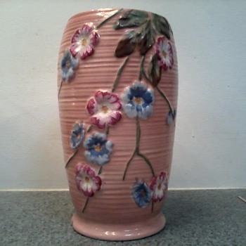 Coral Pink Raised Floral Design Vase / Marked 89  L 284 c /Haling English Pottery / Circa early 1900's