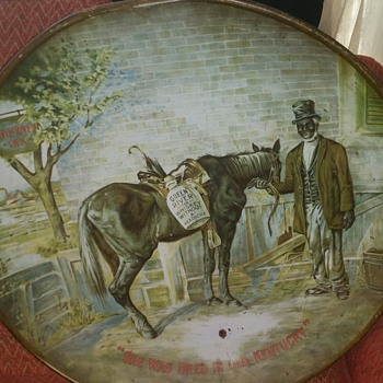 Large Tin Tin Hanging W/ African American Man & Horse - Visual Art