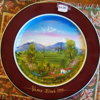Garage Sale Painted Plate! Pretty but who is Artist? I can not read!