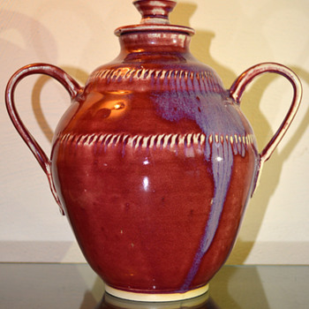 Lidded Jar w/ Handles - Art Pottery