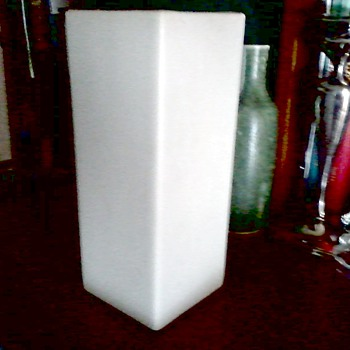 McCoy Floraline Tall  Square Matte White Vase #448 / Circa 1950's 60's - Art Pottery