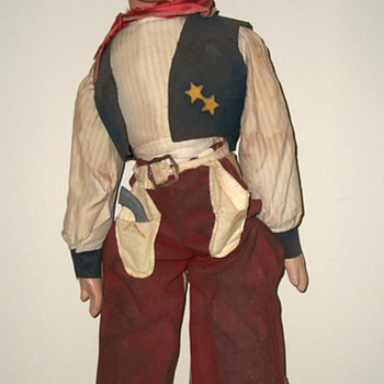 Tom Mix Sales Stimulator or?   Cowboy Doll Display with Handmade Duds