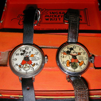 Pre-war English Ingersoll Mickey Mouse Wristwatches