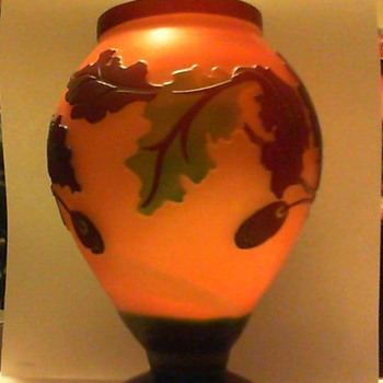 peach frosted 7 inch vase with oak leaf and acorn overlay