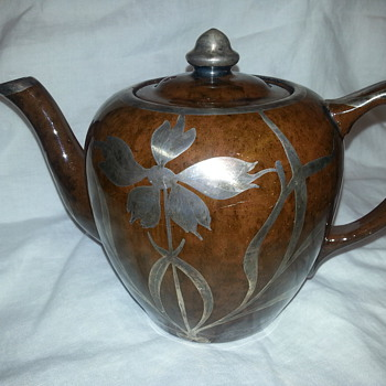 PORCELAIN BROWN TEAPOT WIH MESH STERLING SILVER OVERLAY  - Art Pottery
