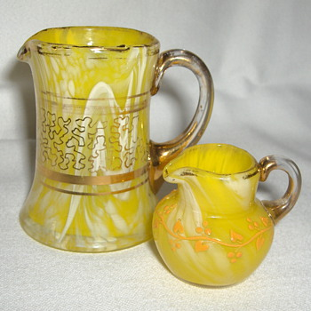 Two Miniature Harrach 'Egg Soup' Yellow Variegated Glass Jugs - Decorated - Art Glass