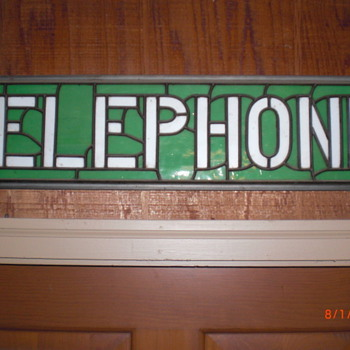 Tiffany style telephone sign