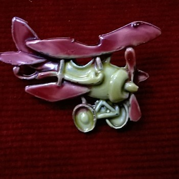 Enamel On Metal Bi-plane Pin Thrift Shop Find 90 Cents ($0.95) - Costume Jewelry