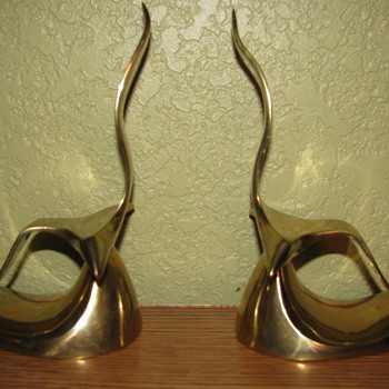 Vintage Modern Brass Seagull Bookends