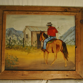 Cowboy on Horse Painting by Ginger Rogers Briggs - Visual Art
