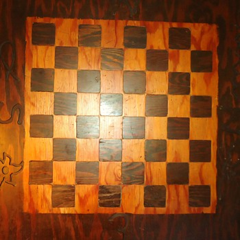 Giant Folk Art Chessboard from 1800's!  Wood Inlaid! - Games