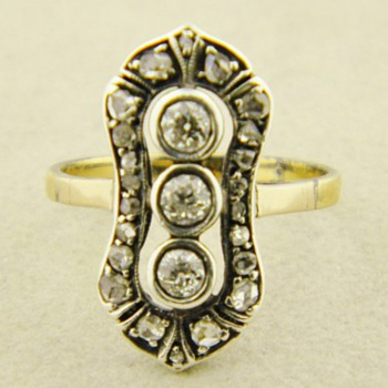 Antique Georgian OMC RC Diamond Silver Gold 12k Ring - Fine Jewelry